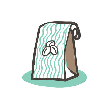 Coffee beans in a bag. Illustration