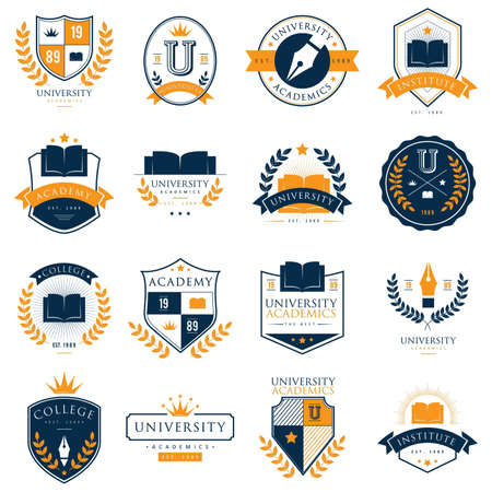 set of university logo elements 일러스트