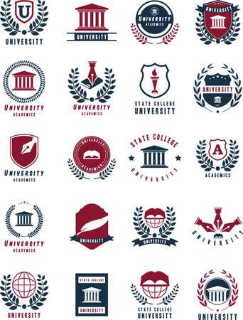 set of university logo elements Vectores