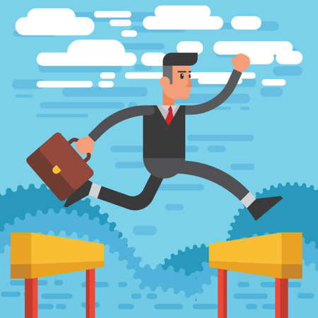 businessman jumping over hurdles