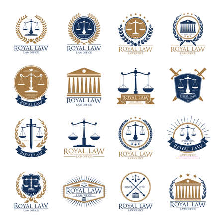 set of royal law logo element icons