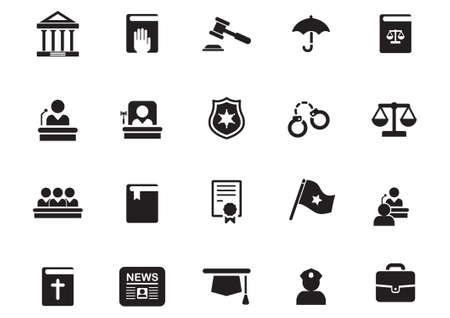 set of law icons Vektorové ilustrace