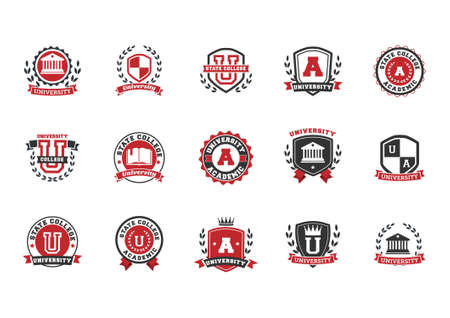 set of university logo element icons Çizim
