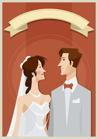bride and groom with copy space design Illustration