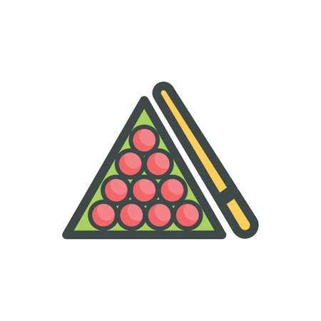 billiard ball: cue stick with billiard balls in a rack Illustration