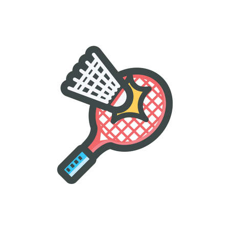shuttlecock being hit by racket Illustration