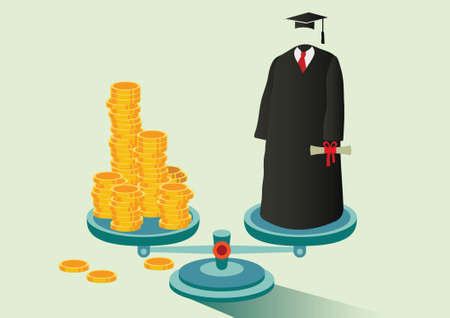 coins and academic robe balance on the scale