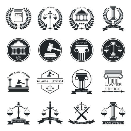 impartiality: set of law logo element icons