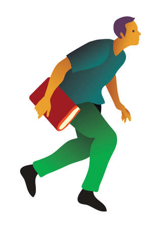 man holding transparent: student running with a book
