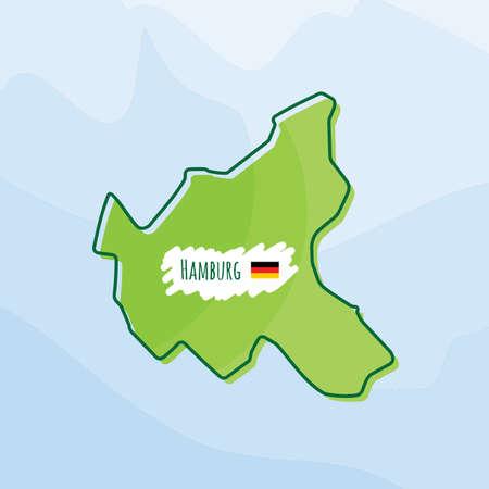 Karte von hamburg, deutschland Standard-Bild - 74505261