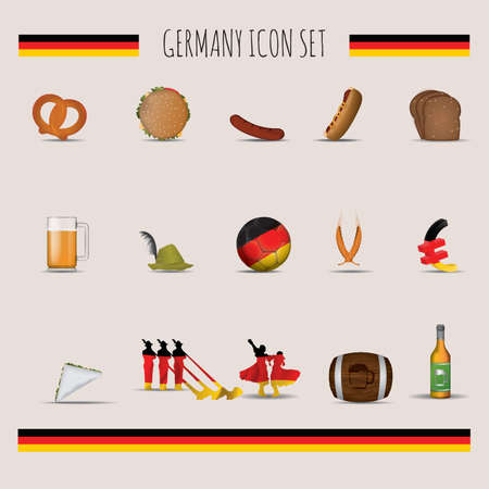 alphorn: Set of Germany icons Illustration