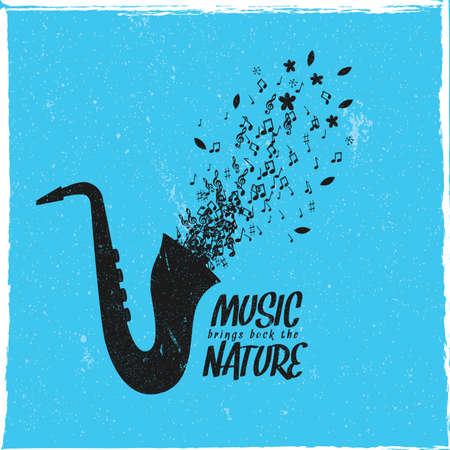 aerophone: Music brings back the nature. Illustration
