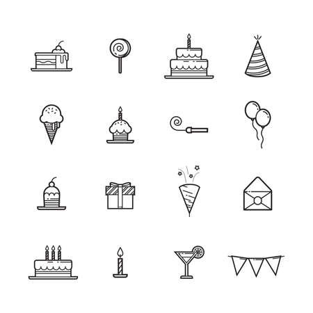 Set of birthday icons.