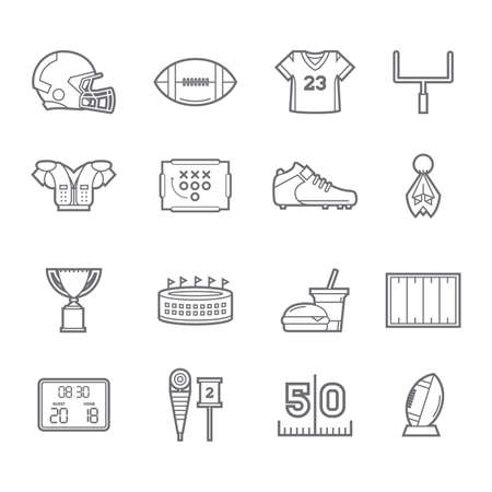 set of american football icons Stock Vector - 74382363