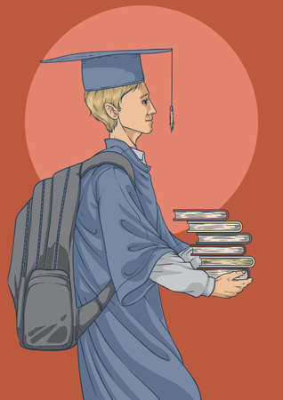 graduate with backpack and books