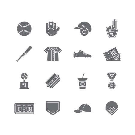 set of baseball icons