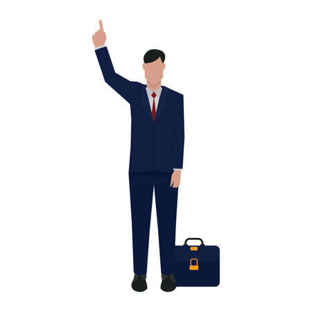 formalwear: businessman pointing upwards Illustration