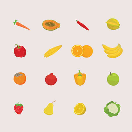 collection of fruits and vegetable Illustration