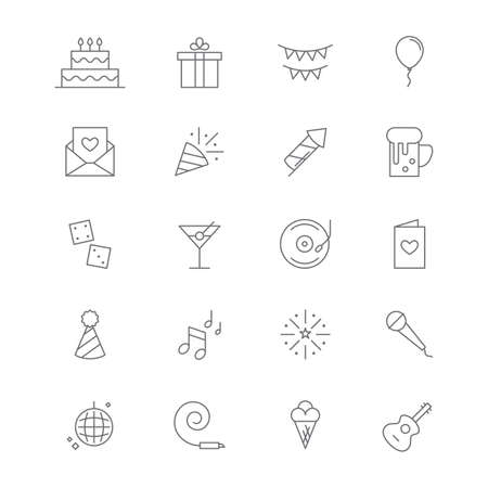 Collection of party icons. Illustration