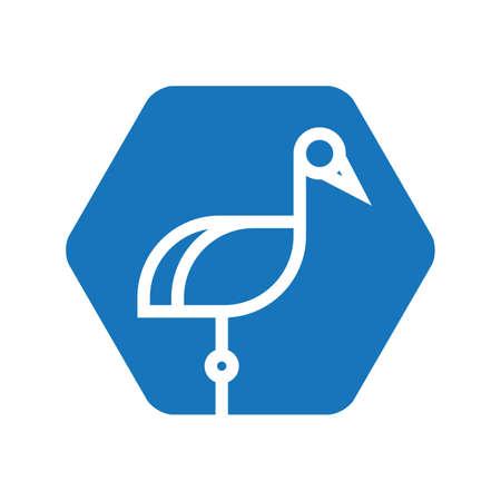 wader: crane icon Illustration