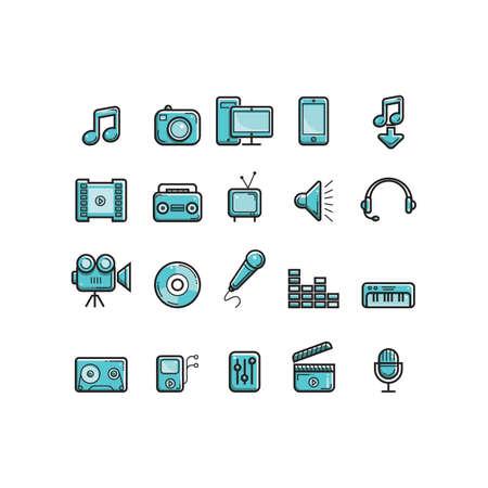 Collection of media icons Vektoros illusztráció