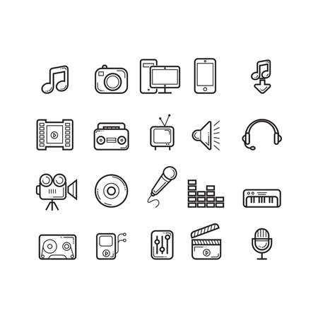Collection of media icons Illustration
