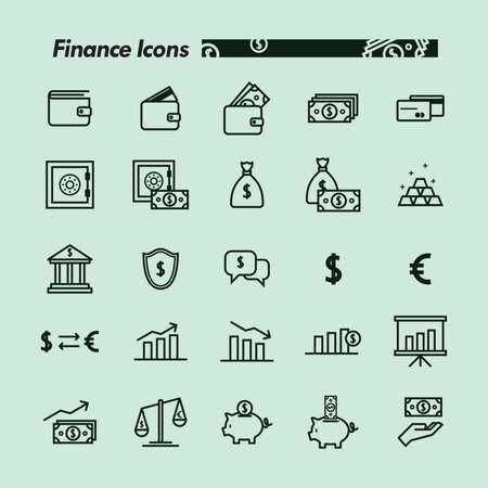 Set of finance icons Illustration
