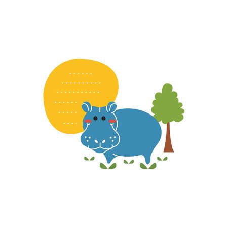 Hippopotamus with copyspace Illustration