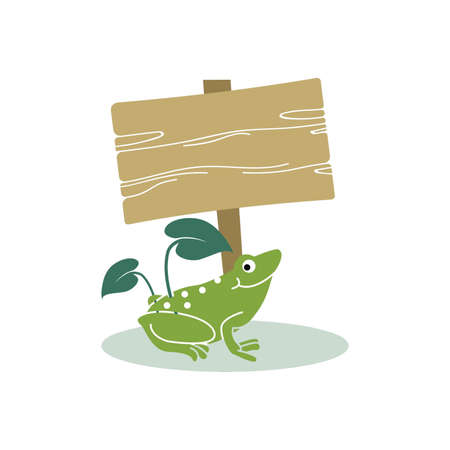Frog with signpost icon