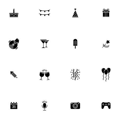 icons: Set of birthday icons Illustration