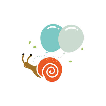 snail with balloons icon Illustration
