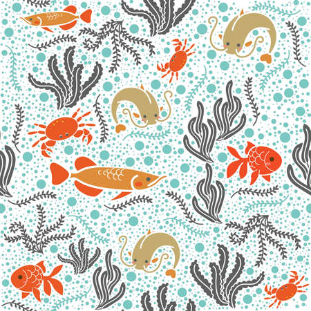 Marine life background design Illustration