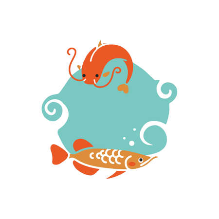 Fishes with copyspace icon Stock Vector - 74440562