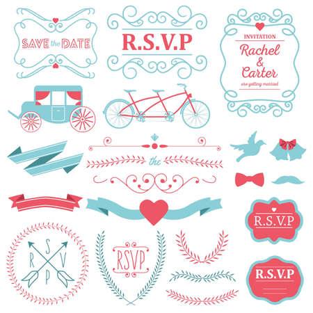 set of wedding invitation designs Illustration