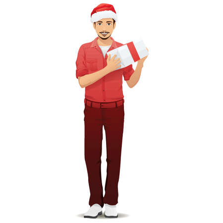 man holding transparent: man carrying present Illustration