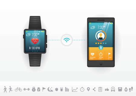 slimme telefoon en horloge fitnessconcept