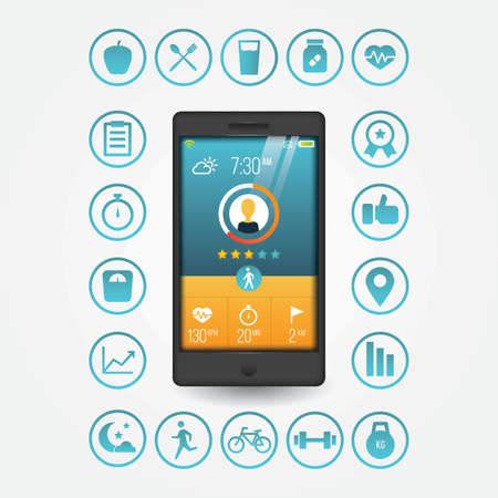 health and fitness smart phone concept
