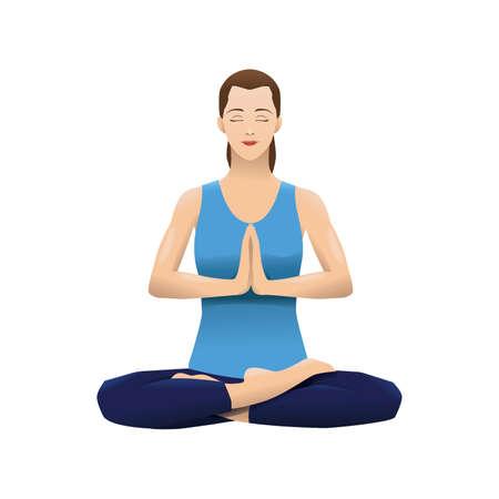 woman practising yoga Illustration