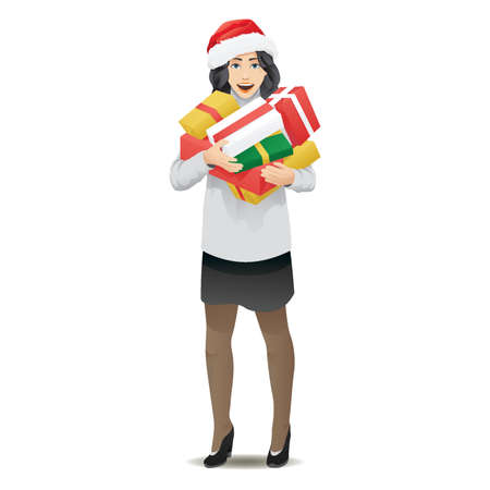 woman holding presents