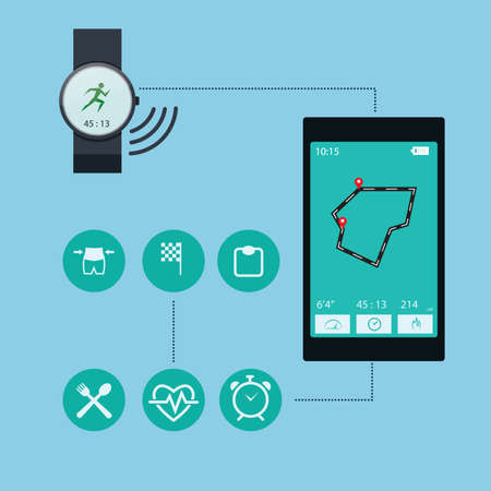 smart phone and watch health concept