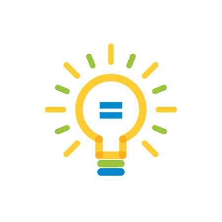 light bulb with equal sign icon