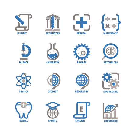 collection of educational subject icons
