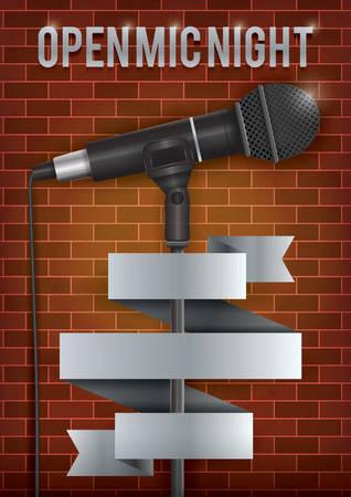 Open mic nacht poster ontwerp Stock Illustratie