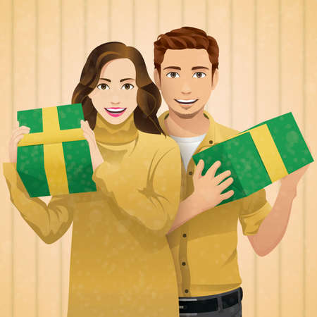 man carrying box: man and woman holding presents background design.