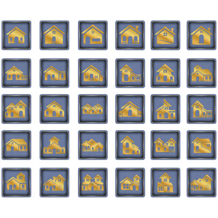set of house button icons