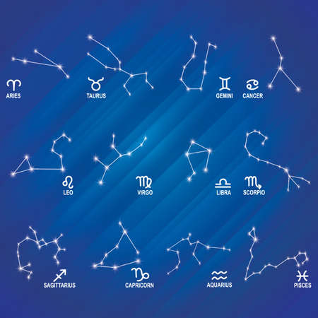 character traits: set of horoscope icons Illustration
