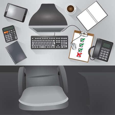 flatlay of desktop table