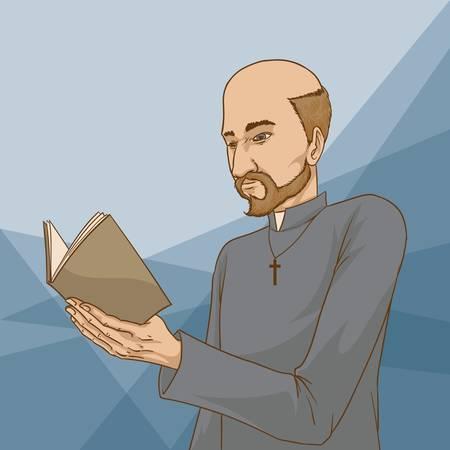 Man reading bible Illustration