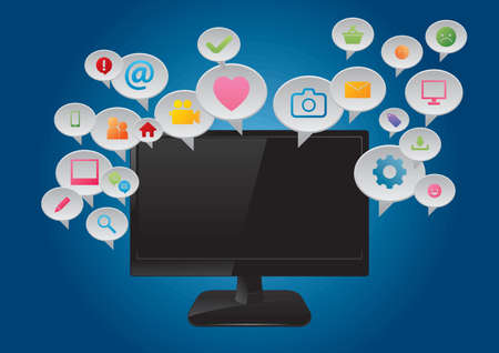Computer monitor with social media icons