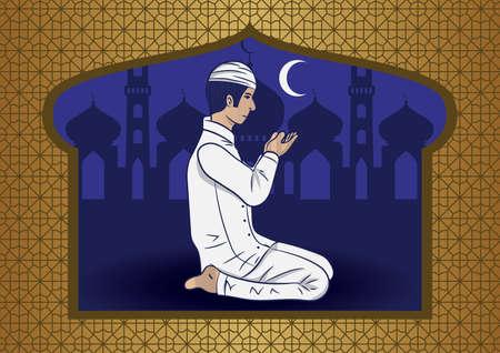man: Muslim man praying